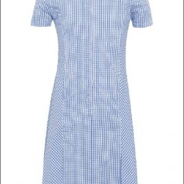 Zip-Fronted Corded Gingham Dress